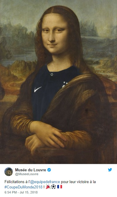 Il Tweet del Louvre, Monna Lisa festeggia la vittoria della Francia ai Mondiali