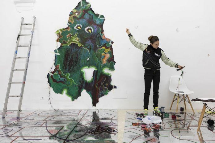 KAYA (Kerstin Brätsch and Debo Eilers), work in progress, 2018. Photo © Daniele Molajoli