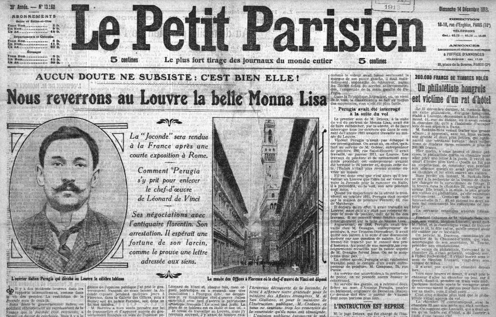 Le Petit Parisien del 14 dicembre 1913 celebra il ritrovamento della Gioconda
