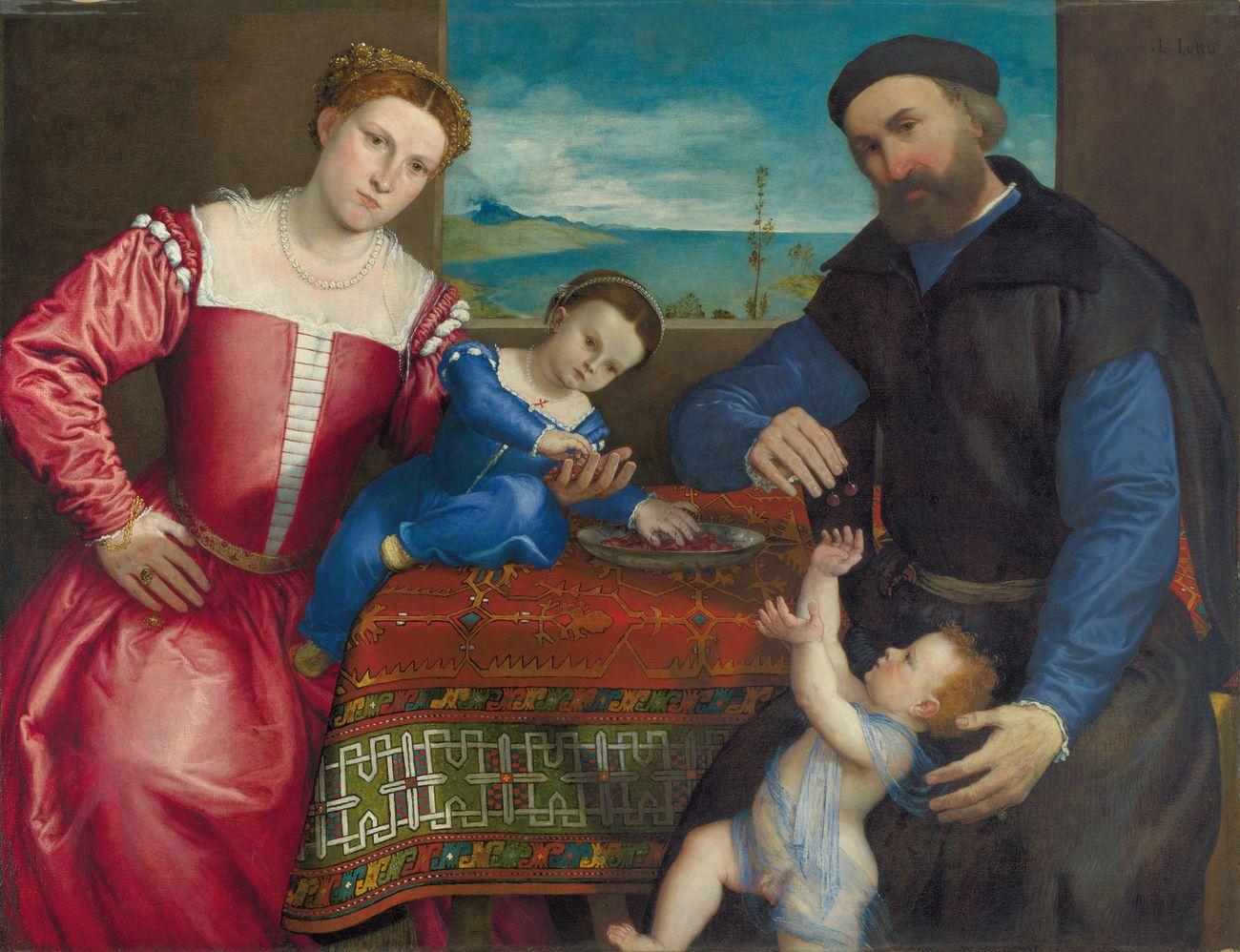 Lorenzo Lotto, Giovanni della Volta con moglie e figli, 1547. Londra, The National Gallery