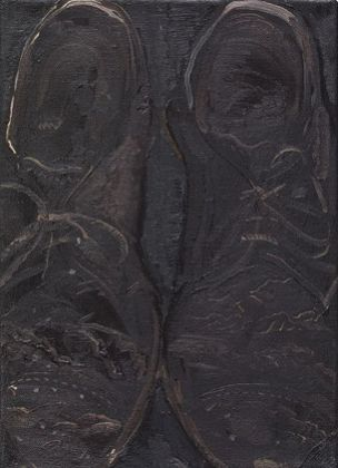 Michele Tocca, Le scarpe del pittore, 2015, olio su tela, 25 x 31 cm