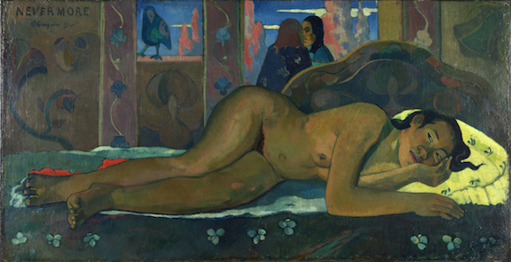Paul Gauguin, Nevermore, 1897. Olio su tela, 60.5x116 cm. The Courtauld Gallery (The Samuel Courtauld Trust), Londra