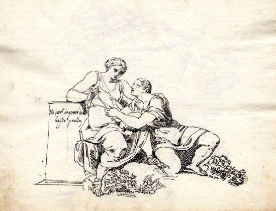 """Pelagio Palagi, Il poeta Properzio e Cinzia, iscrizione """"Me iuvat in gremio doctae legisse puellae"""", collezione privata, inchiostro di china e matita su carta"""