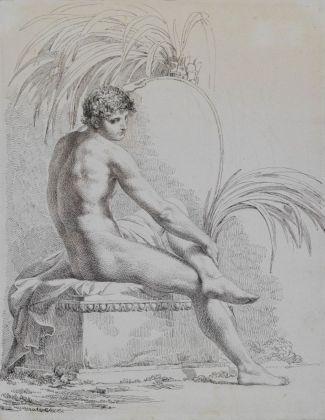 Pelagio Palagi, Studio di nudo virile, collezione privata, 1806-1808 ca., penna a inchiostro nero e bruno su carta