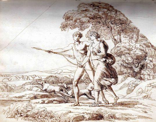 Pelagio Palagi, Venere e Adone a caccia, collezione privata, inchiostro di china e matita su carta