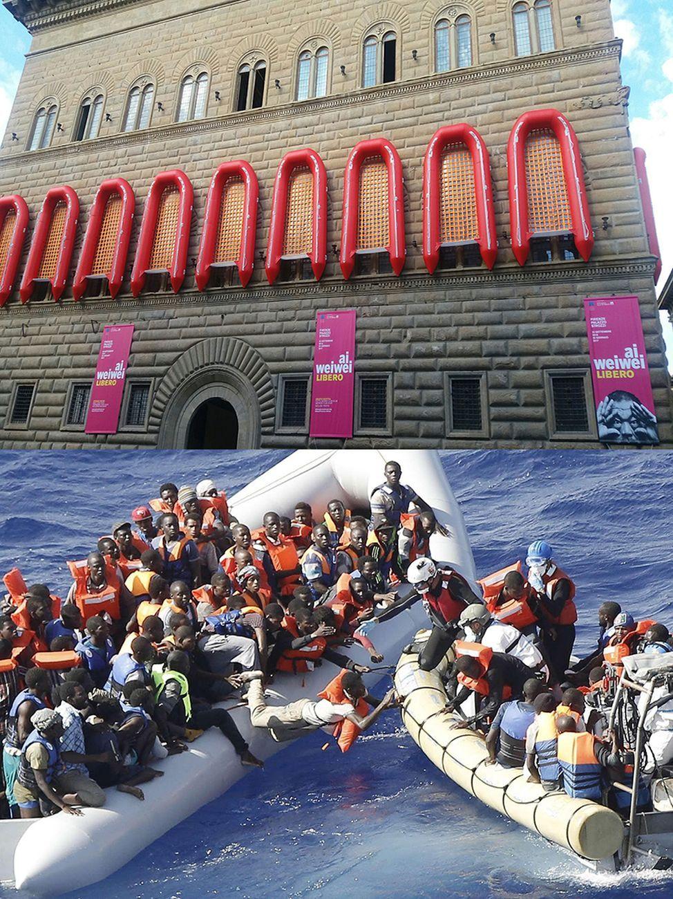 Ai Weiwei (in alto) e migranti nel Mediterraneo (in basso)