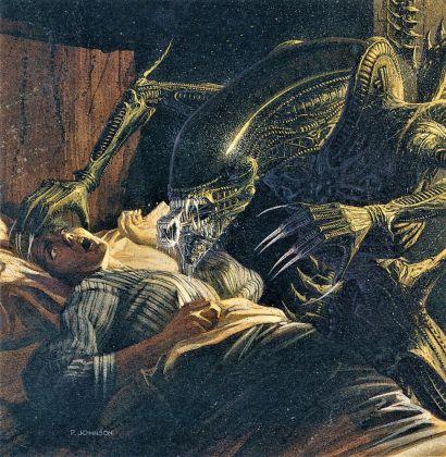 Aliens Sacrifice, disegno di Paul Johnson