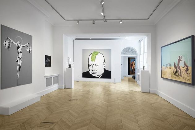 Banksy. Greatest Hits 2002–2008. Exhibition view at Lazinc Sackville Gallery, Londra 2018