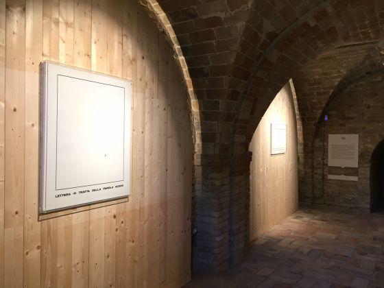 Emilio Isgrò, Lettere, 2018, exhibition view at Casa Museo Osvaldo Licini, Monte Vidon Corrado