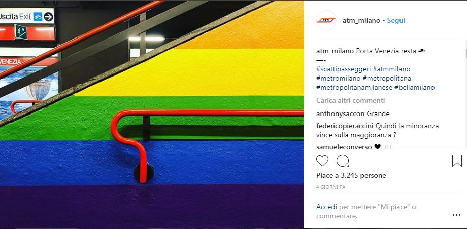 Il post di ATM su Instagram annuncia che il nuovo allestimento Netflix Pride diventa permanente