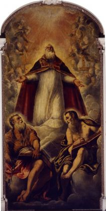 Jacopo Tintoretto, San Marziale in gloria fra san Pietro e san Paolo (durante il restauro), 1549. Venezia, San Marziale