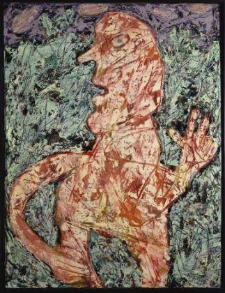 Jean Dubuffet, Frondaisons héroïques avec personnage, 1954, Olio su tela, 116 x 89,5 x cm © 2018 Adagp, Paris_ Siae, Roma