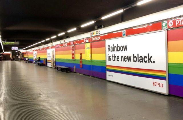 La stazione Porta Venezia di Milano nella versione Pride by Netflix, 2018