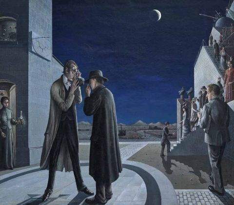 Paul Delvaux_ Les phases de la lune III, 1942. Museum Boijmans Van Beuningen, Rotterdam, photo Studio Tromp ©Paul Delvaux Foundation by SIAE 2018