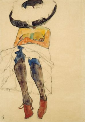 Egon Schiele SEATED SEMI-NUDE WITH HAT AND PURPLE STOCKINGS (GERTI), 1910, Charcoal and watercolor on paper, Collezione Privata Courtesy of W&K – Wienerroither & Kohlbacher, Vienna