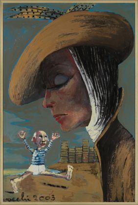 Sergio Vacchi, Pablo Picasso rincorre Greta Garbo, 2003