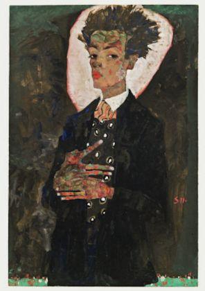Egon Schiele. Autoportrait au gilet, debout, 1911 Selbstbildnis mit Pfauenweste, stehend Gouache, aquarelle et crayon gras sur papier, monté sur carton, Collezione Ernst Ploil, Vienna