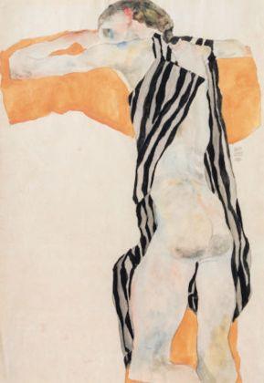 Egon Schiele. Jeune fille nue couchée, en chemisier à rayures, 1911 Liegender Mädchenakt in gestreiftem Kittel Crayon et aquarelle sur papier, Collezione privata, Vienna, Courtesy Kunsthandel Giese & Schweiger, Vienna