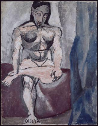 """Pablo Picasso, Nudo seduto, studio per """"Les demoiselles de Avignon"""", 1906-1907 olio su tela, 121x93,5 cm Paris, Musée National Picasso. Credito fotografico: © RMN-Grand Palais (Musée national Picasso-Paris) / René Gabriel Ojéda/dist. Alinari"""