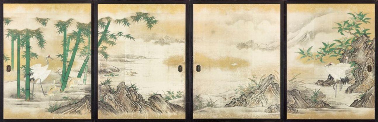 Anonimo, Gruppo di quattro fusuma decorati con motivi naturali, XVIII sec.. Louvre Abu Dhabi
