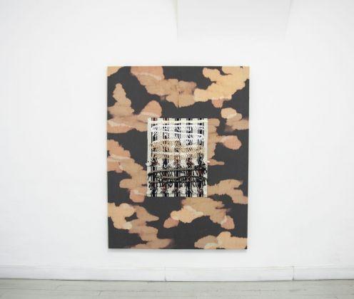 Cato Løland, Habitat, 2016, collage di materiali tessili, 150x170 cm
