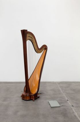 Darren Bader, Concert Harp and_with Airplane Tray Table. Installation view at Blum & Poe, Los Angeles 2013