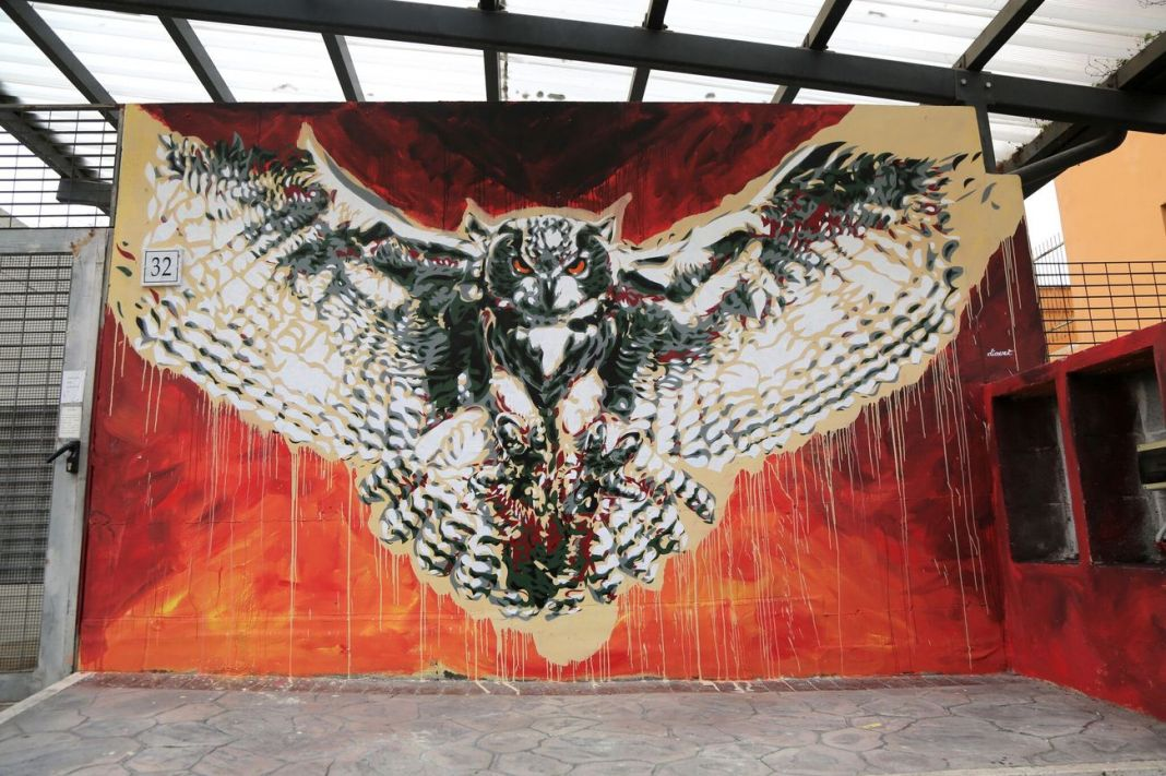 David Diavù Vecchiato, Bubo Africanus, murale per Urban Neapolis, Via Policastro, Roma, 2018. Photo dell'artista