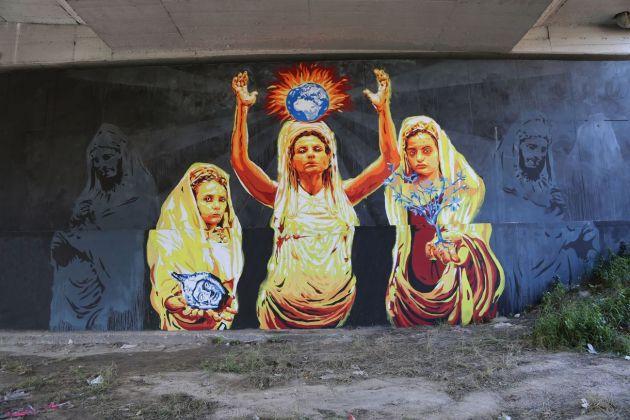 David Diavù Vecchiato, Ego te victima, capio, murale per GRAArt, Via di Boccea, Roma, 2018. Photo Giorgio Silvestrelli