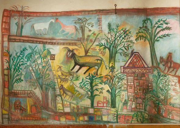 Casa dei Simboli di Bonaria Manca, dipinti del corridoio. Ph. Paola Manca