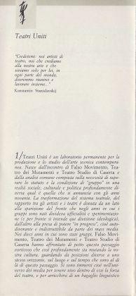 Documento di Fondazione Teatri Uniti (1987)