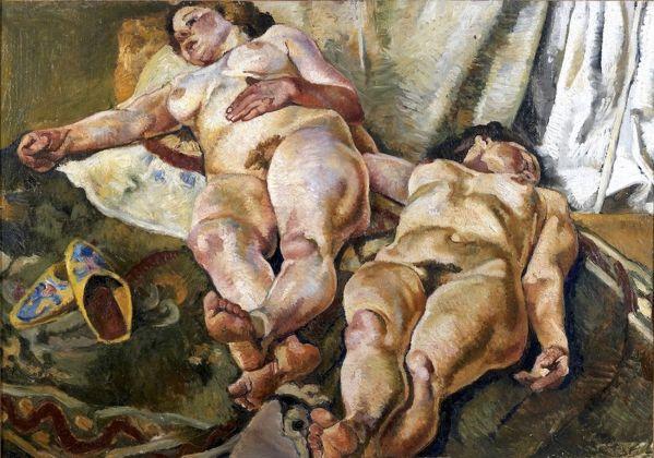 Fausto Pirandello, Composizione con nudi e pantofole gialle, 1923. Roma, collezione privata
