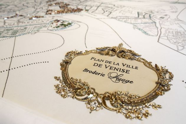 Homo Faber, Venezia 2018. Lesage Embroidery workshop. A map of Venice will be progressively embroidered by visitors. Discovery And Rediscovery. Photo Tomas Bertelsen