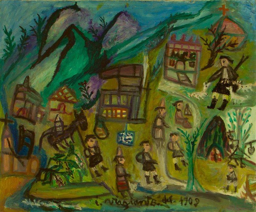 Bonaria Manca, IL VIAGGIANTE DEL 1908 Anni '80, Olio su tela. Collezione privata dell'artista. Ph. Paola Manca
