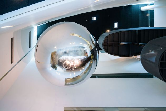 Prototype for Trevor Paglen: Orbital Reflector, co-produced and presented by the Nevada Museum of Art, on view in the Donald W. Reynolds Grand Hall at the Nevada Museum of Art. Courtesy of Nevada Museum of Art, 2016