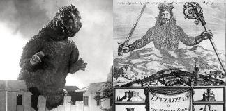 La natura duplice dell'uomo. A sinistra, Godzilla (1954) di Hishiro Honda; a destra, la celebre incisione sul frontespizio del Leviatano (1651) di Thomas Hobbes