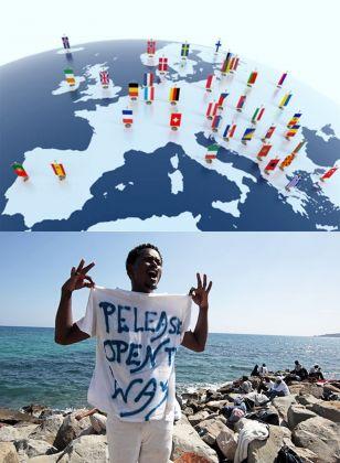 La prospera Europa saprà gestire i flussi migratori d'inizio millennio_ Sopra, gli Stati Nazionali europei; sotto, un immigrato invoca accoglienza