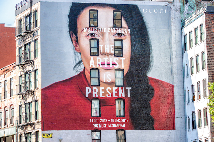 The Artist is Present, mostra curata da Maurizio Cattelan. Gucci NY ArtWall. Courtesy of Colossal Media