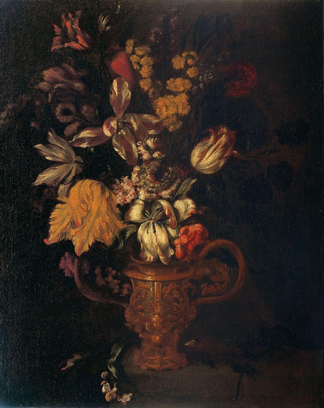Pittore Fiorentino, Vaso di fiori, Seconda metà del XVII secolo, Olio su tela, 75 x 57 cm, Mantova, Collezione privata