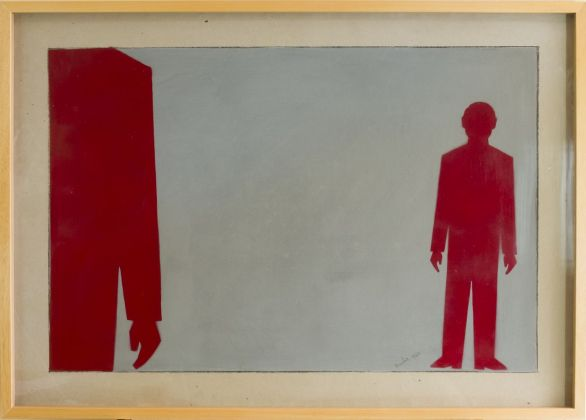 Renato Mambor, Statistici rossi su fondo grigio, 1962