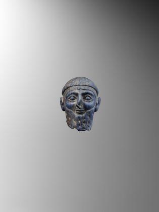 Testa di statuetta regale, Mesopotamia, Protodinastico II III, ca. 2500 2200 a.C., Collezione privata, Parigi © Fondazione Giancarlo Ligabue. Photo Hughes Dubois