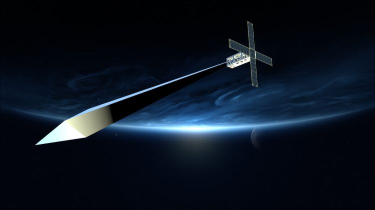 Design concept rendering for Trevor Paglen: Orbital Reflector, co produced and presented by the Nevada Museum of Art. Courtesy of Trevor Paglen and Nevada Museum of Art, 2017