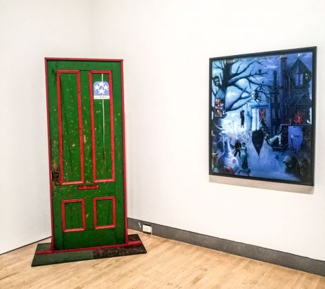 A sx, Dana C. Chandler, Fred Hampton's Door 2, 1975. A dx, Archibald J. Motley Jr., The First One Hundred Years…, 1963-72