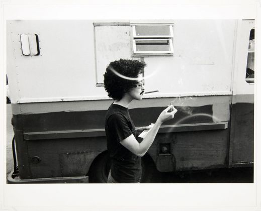 Adrian Piper, The Mythic Being. Light My Fire, Sweetie, 1974. Photo credit James Gutmann. Collection of the Adrian Piper Research Archive Foundation Berlin © Adrian Piper Research Archive Foundation Foundation Berlin