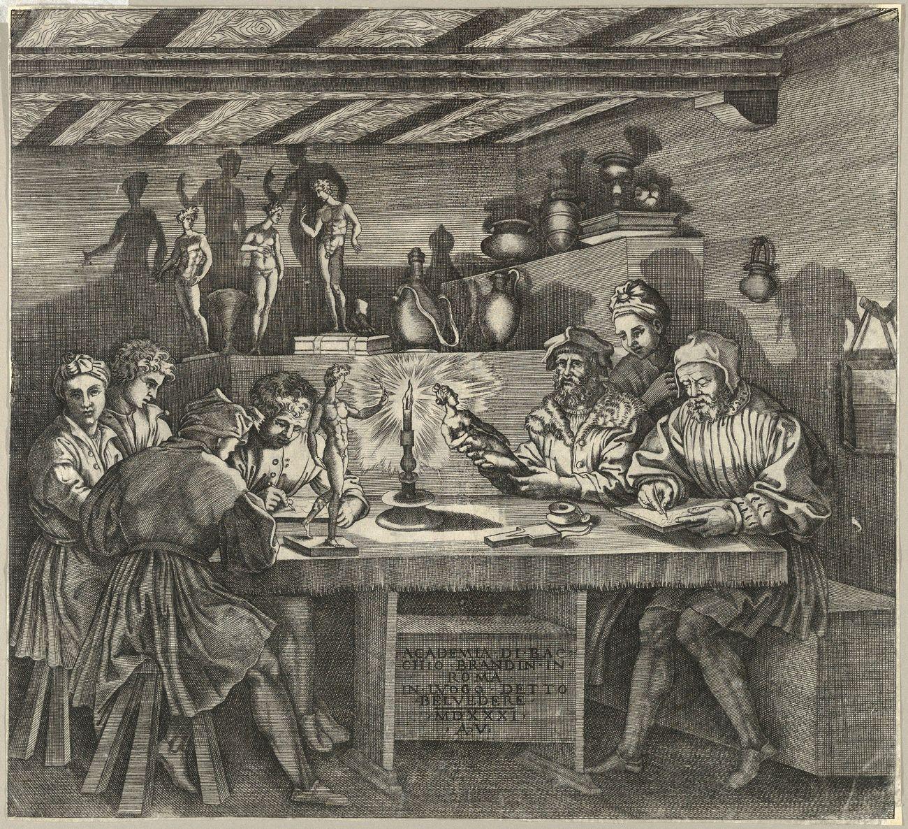 Agostino Veneziano, L'accademia di Baccio Bandinelli, 1531