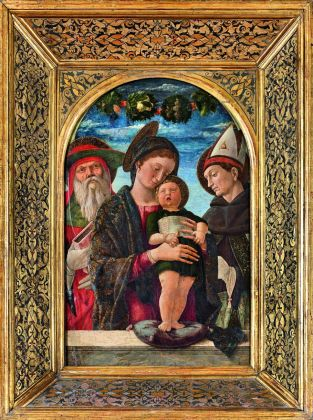 Andrea Mantegna, Madonna col Bambino e i santi Gerolamo e Ludovico di Tolosa, 1455 ca. Paris, Musée Jacquemart André – Institut de France © Studio Sébert Photographes