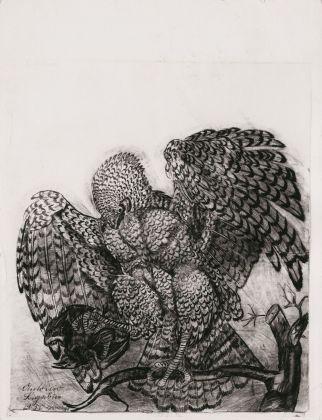 Antonio Ligabue, Aquila con uccello, 1950. Collezione privata
