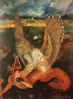 Antonio Ligabue, Aquila con volpe, 1949-50. Collezione privata