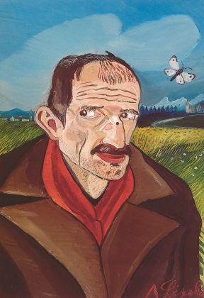 Antonio Ligabue, Autoritratto con farfalla, 1956-57. Collezione privata