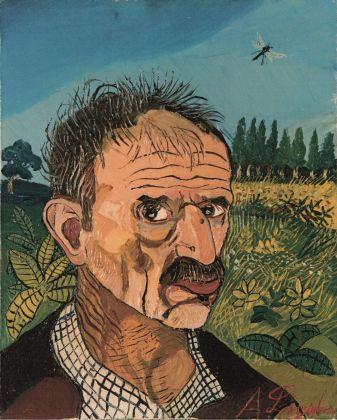Antonio Ligabue, Autoritratto con libellula, 1959. Collezione privata