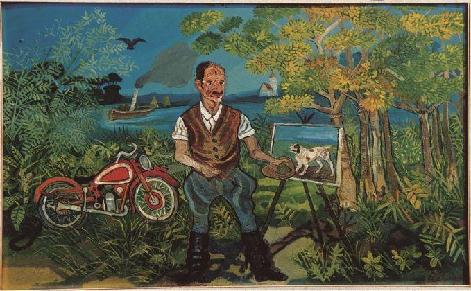 Antonio Ligabue, Autoritratto con moto, cavalletto e paesaggio, 1953-54. Collezione privata
